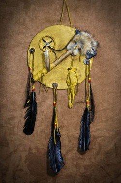 IMGP0253 Navajo Shield W/ Bone Knife or Tomahawk